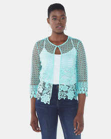 Queenspark New Edge To Edge Lace Woven Jacket Aqua