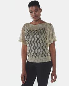 Queenspark Draped Short Sleeve Knit Top Gold