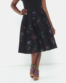 Queenspark Muted Flower Hoop Woven Skirt Black