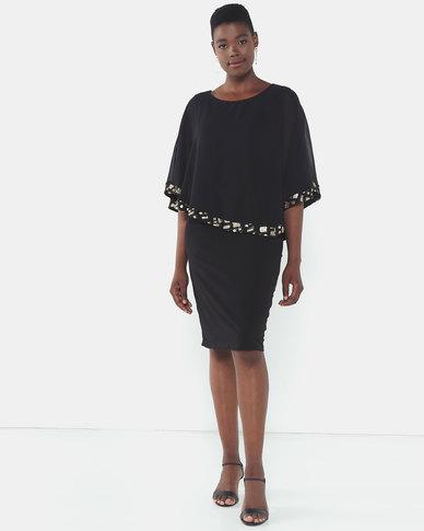 Queenspark Symetric Double Layer Knit Dress Black