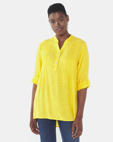 Queenspark Private Label Pintuck 1/4 Placket Woven Shirt Mustard