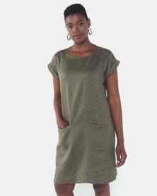 Queenspark Private Label Tunic Pocket Detail Linen Woven Dress Khaki