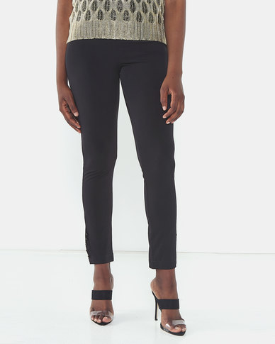 Queenspark Private Label Button Detail Knitted Trousers Black