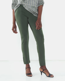 Queenspark Private Label Button Detail Knitted Trousers Green