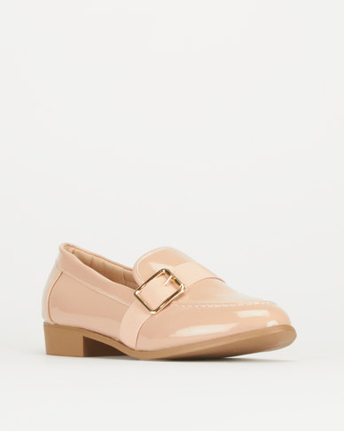 Legit Loafer With Petersham Overlay And Gold Buckle Blush