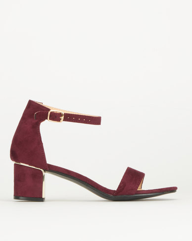 Legit Low Block Heel With Metal Insert Grape