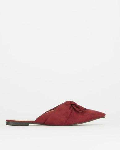 Legit Pointy Push In Pump With Bow Detail  Burgundy