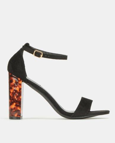 Legit Banded Mule Sandal On Tortoise Shell Block Heels Black