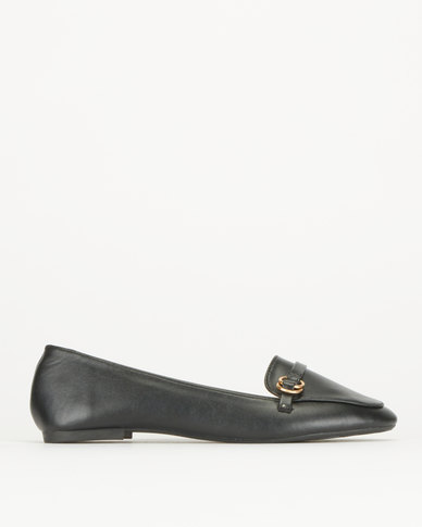 Legit Loafer With Overlay Strap With Circle Trims Detail Black