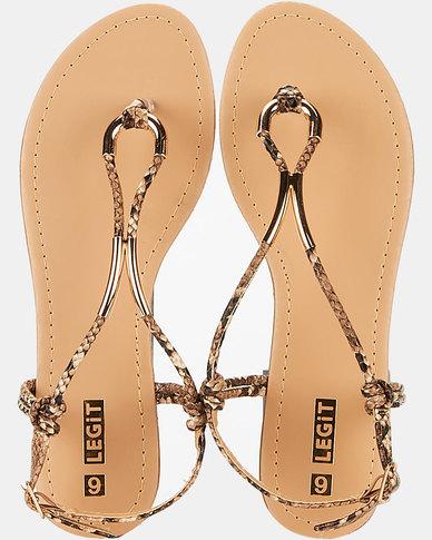 Legit Teardrop Sandal With Tubular Metal Detail Natural