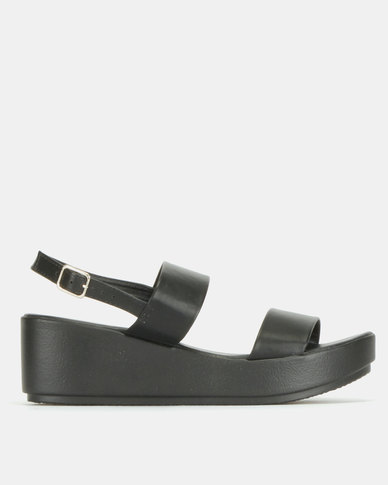 Legit Flatform Velcro Strap Sandals Black