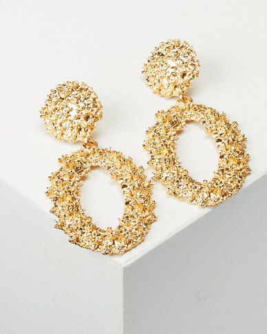 You & I Statement Oval Drop Earrings Soft Gold