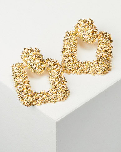 You & I Statement Swuare Drop Earrings Soft Gold-tone