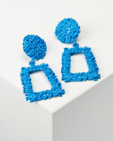 You & IStatement Trapezoid Drop Earrings Electric Blue