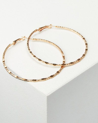 You & I Large Hammered Hoop Earrings Rose Gold-tone