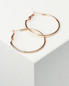 You & I Thin Med Hoop Earrings Rose Gold-tone