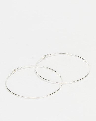 You & I Thin Med Hoop Earrings Silver-tone