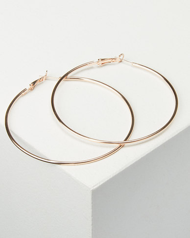 You & I Thin Large Hoop Earrings Rose Gold-tone