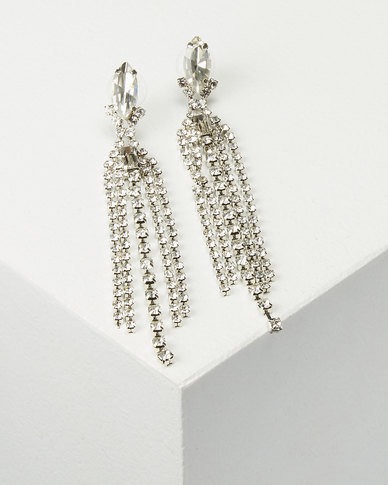 You & I Diamante Drop Earrings Silver-tone