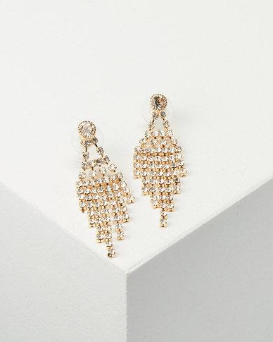 You & I Diamante Drop Earrings Gold-tone