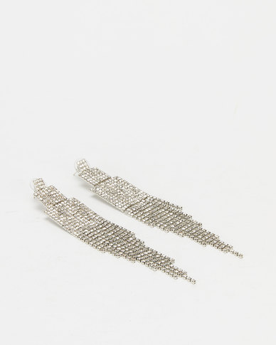 You & I Statement Diamante Drop Earrings Silver-tone
