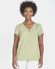 Contempo Viscose Blouse With Metal Buttons Khaki