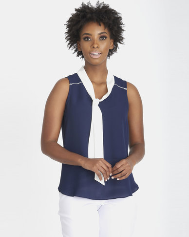 Contempo Shell Top With Contrast Tie Navy