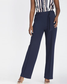 Contempo Scuba Crepe Pants Navy