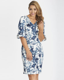 Contempo Frill Sleevv Printed Dress Ivory Multi