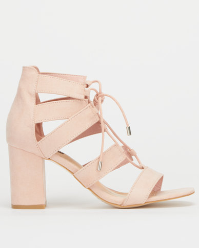 Legit  Closed Quarter Lace Up Block Heels Blush