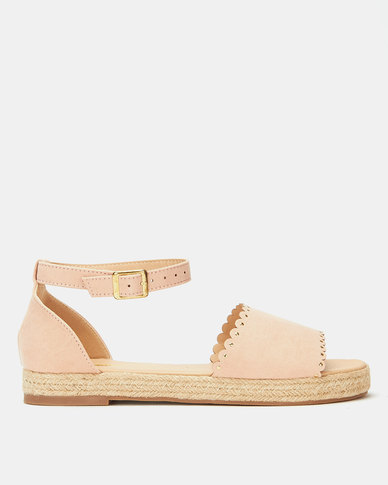 Legit Scalloped Mule Vamp Espadrille With A Strap Blush