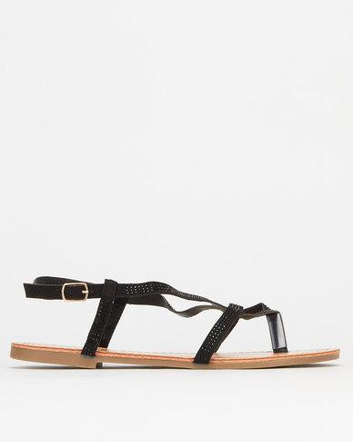 Legit Self Colour Embellished Thong Sandals Black
