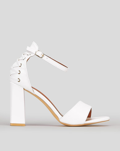 Legit CQ Lace Up Detail Block Heel Sandals White