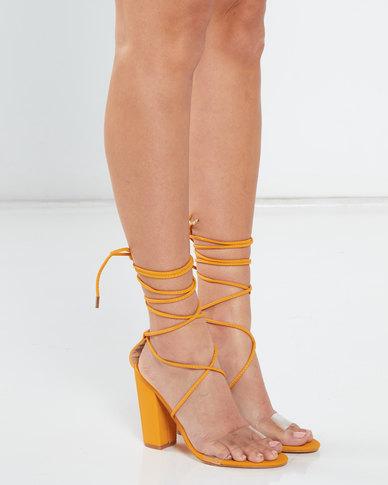Legit Vinyl Vamp Lace Up Block Heel Sandals Mustard