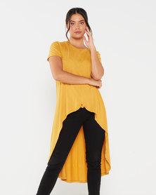 Utopia Aline Knot Tunic Top Mustard