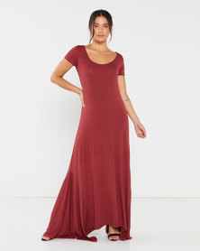 Utopia Hanky Hem Maxi Dress Orange