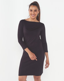 Utopia Boatneck Tunic Dress Black