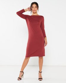 Utopia Boatneck Tunic Dress Brick Red