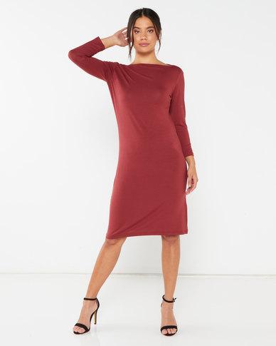 Utopia Boatneck Tunic Dress Brick Red