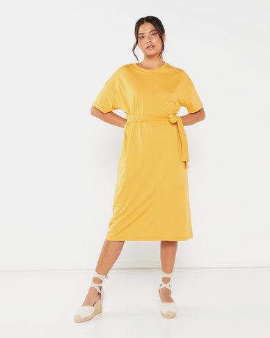 Utopia T-Shirt Dress With Self Tie Mustard