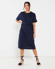 Utopia T-Shirt Dress With Self Tie Navy