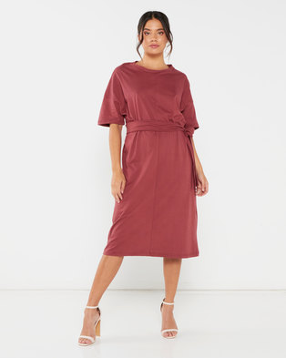 Utopia T-Shirt Dress With Self Tie Brick Red