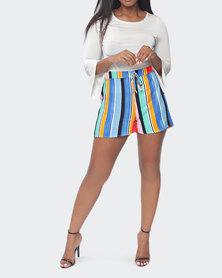 Urban Style Striped Shorts Multi