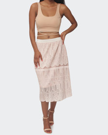Planet54 Lace Skirt - Nude