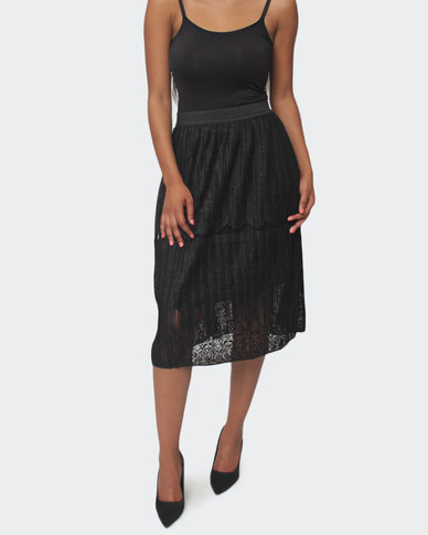 Urban Style Lace Skirt - Black