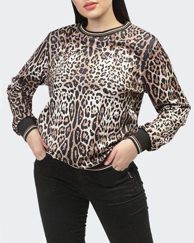 Style by L Animal Print Sweatshirt - Brown