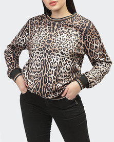 Planet54 Animal Print Sweatshirt - Brown