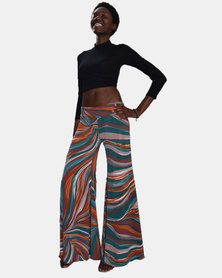 SKA Psychedelic Bell Bottom Pants Brown and Green