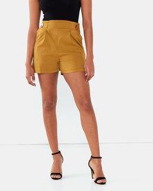 Legit Button Tab Detail Shorts Chartreuse