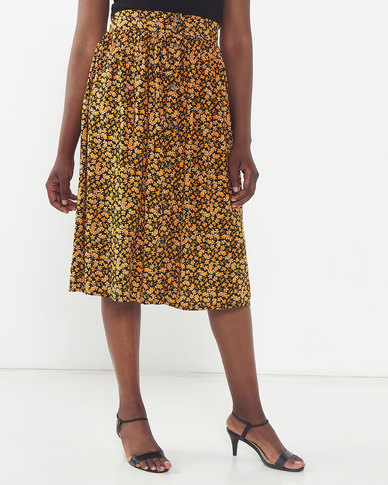 Legit Flared Midi Ditsy Skirt Mustard